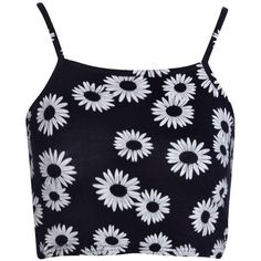 Boohoo Jamie Daisy Print Spaghetti Strap Crop Top (16 CAD) ❤ liked on Polyvore featuring tops, crop tops, shirts, tank tops, crop shirts, blue shirt, blue crop top, crop top and flat top