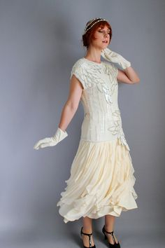 80s Does 20s Cream Silk Wedding Party Dress. Flapper Style. Great Gatsby. Downton Abbey. Oleg Cassini