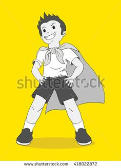 Cartoon illustration of a boy pretending to be a superhero, inspiration, aspiration concept - stock vector