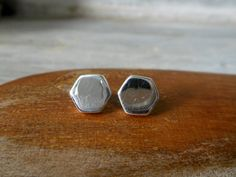 Cool Unisex 3D Plain Geometric Pentagon Sterling Silver Stud Earrings With Shiny Finish & Butterfly Ear Back,Pentagon,Personalized Gifts by Supsilver on Etsy