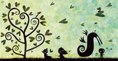 Hearts and birds by ploop26.deviantart.com on @deviantART