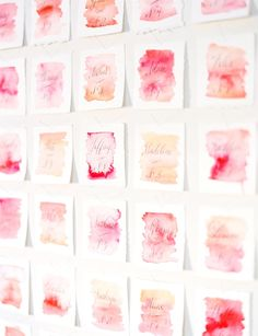 watercolor escort cards via @Jena Kittie Wed