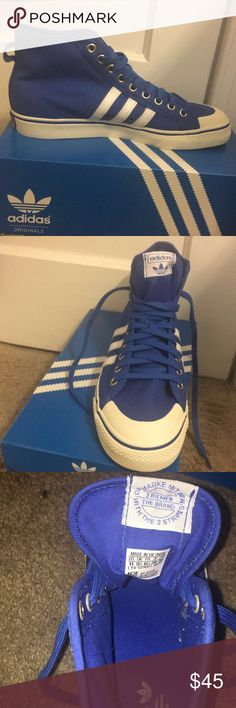 Adidas Nizza shoes High top light blue with white stripes. Blue insole. White outer with blue rim. Nizza logo on back heel adidas Shoes Sneakers