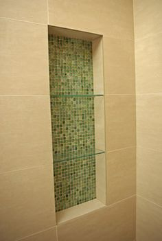 Glass Mosiac Shower Niche - modern - bathroom - san francisco - by Continuum Tile Co. Shower Remodel, Niche Modern, Tile Installation, Shower Niche, Modern Bathroom, Bathroom, Shower Storage, Lighthouse Decor, Bathroom Redo