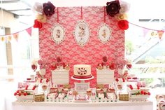 Loli candy bar's Birthday / sarah kay - Photo Gallery at Catch My Party Sarah Kay, Cumpleaños Shabby Chic, Dessert Table Decor, Fiesta Baby Shower, Fiesta Party, Childrens Party, Craft Party, Birthday Parties, Party Ideas