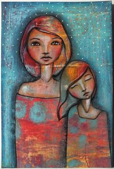 """Original OOAK 4 x 6 Mixed Media acrylic colored pencil """"Safe"""" A Kennedy portrait woman Mother daughter blue"""