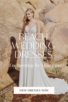 Extra dreamy and undeniably flattering. Beach wedding dresses from Enchanting by Mon Cheri feature simple lace detailing, breezy A-line skirts and strappy backs that are destined to be the perfect match for your sun-kissed ceremony. Mon Cheri, Casual Wedding, Sun Kissed, Chiffon Skirt, Perfect Match, A Line Skirts, Enchanted, One Shoulder Wedding Dress, Wedding Gowns