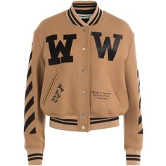 Off-White Virgin Wool Bomber Jacket ($1,055) ❤ liked on Polyvore featuring outerwear, jackets, camel, shrug jacket, print bomber jacket, snap front jacket, slim fit jacket and print jacket