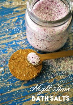 Make Your Own Night Time Bath Salts with essential oils and calming epsom salt. Click now!