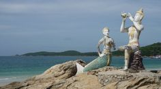 Statue of Aphai Mani and mermaid on Hat Sai Kaew beach, Ko Samet
