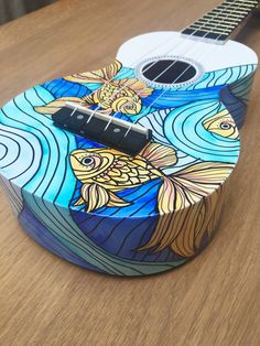 Cedar & Sycamore Illustration by CedarAndSycamore Ukelele Painted, Painted Pianos, Painted Guitars, Ukulele Art, Ukulele Chords, Guitar Painting, Diy Painting, Ukulele Design, Guitar Diy