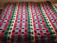 Large original Vintage Retro geometric pattern TETEM blanket throw
