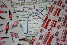London Polycotton Fabrics~Guards~Union Jacks~Underground/Tube Map~Buses~Fq,1/2m