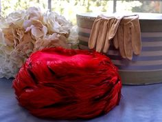 Vintage Red Feather Jan Leslie Pill Box Hat by EstatelyLadies on Etsy