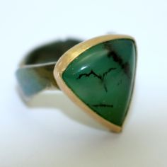 Oxidised Silver Ring with Chrysoprase