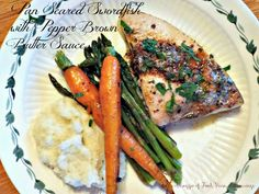 Pan Seared Swordfish Steaks with Pepper Brown Butter Sauce | Un Assaggio of Food, Wine, and Marriage