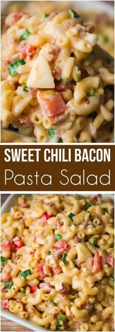 Sweet Chili Bacon Pasta Salad is the perfect side dish for potluck parties. This cold macaroni salad loaded with bacon, red peppers and green onions is tossed in a sweet and spicy sauce. This is an easy BBQ side dish recipe.