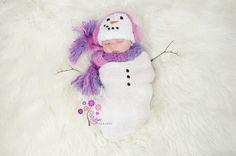 Crochet Snowman Hat and Scarf, Baby Newborn Girl, Winter photography prop