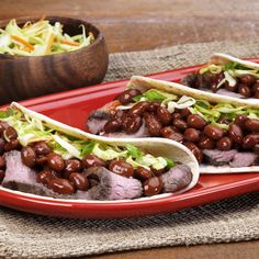 Give taco night an entirely new twist! This recipe, created by Maureen Toman, blends BUSH'S® Asian BBQ Beans with steak, slaw and a sesame ginger dressing for an Asian-influenced take on this family-favorite dinner.