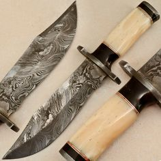Custom Made Damascus Hunting Knife - Stained Camel Bone - M-665