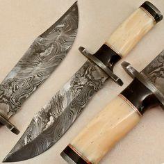 Custom Made Damascus Hunting Knife - Stained Camel Bone - M-665