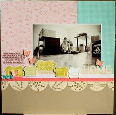 Love the way she used the couch/chair stamps on this layout. Need to use my stamps in the pages more.