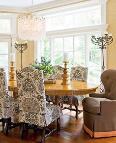 """I love how these chairs are slipcovered!    Traditional Home, Feb./Mar. 2012  interior designer Suellen Gregory (www.suellengregory.com)  fabric is Schumacher """"Katsugi""""/Link, Sepia"""