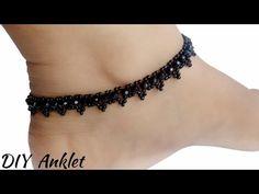 (DIY) Anklet || How To Make Anklet At Home || Black Anket For One Leg || Beaded Anklet - YouTube Beaded Sandals, Beaded Anklets, Anklet Jewelry, Bead Jewellery, Beaded Jewelry, Beaded Bracelets, Copper Bracelet, Jewelry Necklaces, How To Make Anklets