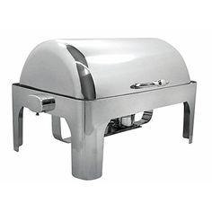 HUBERT Full Size 9 Qt Stainless Steel Dripless Rolltop Chafer - 26 3/8