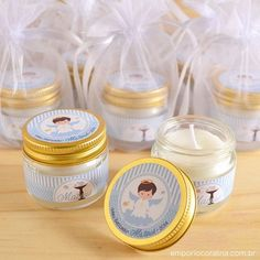 Comunion bauti Christening Giveaways Souvenirs, Baptismal Giveaways, Christening Party Favors, Baptism Party Decorations, Baptism Favors, Baby Christening, Baptism Giveaways Ideas, Baby Gift Hampers, Baby Food Jar Crafts