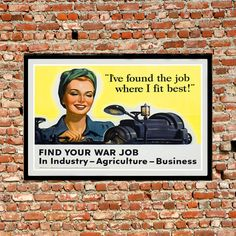 Reprint of the WW2 Propaganda Poster  Women in the by VPCompany