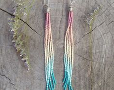 Turquoise Seed Bead Earrings Long Seed Bead by WildHoneyPieDesign