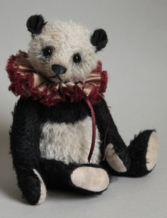 "Smudge a 10"" panda teddy bear by  Victoria Allum of Humble Crumble Bears"