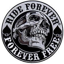 Spade Skull outlaw anarchy EMBROIDERED 3.5 INCH IRON ON MC BIKER PATCH