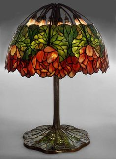 Paul Crist Studios Lotus Lamp Tiffany Stained Glass, Stained Glass Lamps, Tiffany Glass, Stained Glass Windows, Louis Comfort Tiffany, Lotus Lamp, Studio Lamp, Art Deco Table Lamps, I Saw The Light
