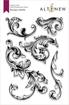 Add elegant details to your cards with the Baroque Motifs Stamp set by Altenew. The package includes 5 clear photopolymer stamps on a 6 Tattoo Stencils, Tattoo Fonts, Filigrana Tattoo, Filagree Tattoo, Ornament Drawing, Cursive Alphabet, Engraving Art, Lettering Styles, Filigree Design