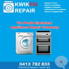 The Perth Electrical Appliance Repair Company Kwikfix Repairs offers a prompt and affordable electrical appliance repair service within the Perth Metropolitan Area for electric ovens, stoves, dishwashers, fridges, washers and driers. We are manufacturer trained and have 37 years' experience in electrical appliance repair and all the relevant licenses, including Public Liability Insurance. Call Larry today on 0413 782 833
