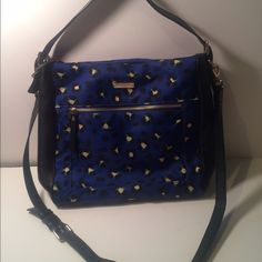 Kate Spade Blue Cheetah Crossbody & shoulder Bag This was used like 5 times - has a Crossbody strap and a shoulder strap - great for traveling - mint condition no flaws - cobalt blue with black and green cheetah print - sides are black leather - straps are black as well- no trades - any questions please ask kate spade Bags Crossbody Bags