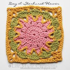 Day 18: Starburst Flowers block free crochet pattern on Life Made Creations at http://lifemadecreations.blogspot.com/2011_05_01_archive.html