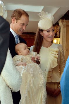 For the christening of her son, Prince George, today, the Duchess wore a cream dress designed by  Alexander McQueen