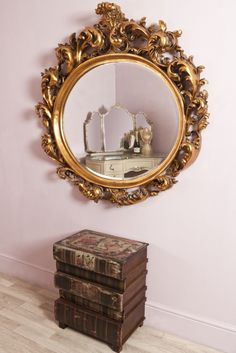 Extra Large Gold Oval Rococo Style Decorative Mirror - Albert
