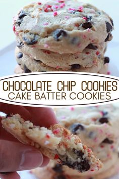 Have these gorgeous, easy sprinkle-filled, soft and chewy cookies that are simple to make with a cake mix and chocolate chips, all in one bite! Cake Batter Cookies, Cake Mix Cookie Recipes, Yummy Treats, Delicious Desserts, Yummy Food, Chocolate Chip Cookie Cake, Chocolate Chips, Baking Recipes, Snack Recipes