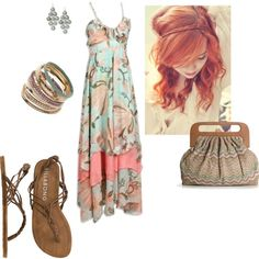 A fashion look from May 2012 featuring maxi dress, flat shoes and brown purse. Browse and shop related looks.