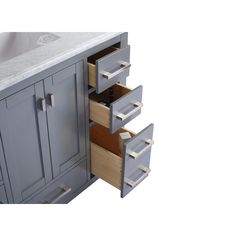"Laviva Wilson 42"" Cabinet with White Carrara Countertop – EZ Vanities Black Sink, White Sink, Shaker Style Cabinets, Grey Cabinets, Inside Cabinets, Porcelain Sink, Stone Countertops, Online Furniture Stores, Panel Doors"