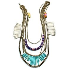 DANNIJO designer jewelry // mexican inspired statement necklace in brass chain with trade beads and skulls.