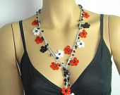 NEW Spring 2012 Crocheted necklace oya flower with onyx stones red black white