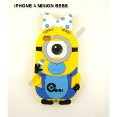 1d8a398d129 Carcasa silicona 3D minion bebe para Carcasa silicona 3D minion bebe para  Iphone 4 - Protege