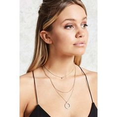 Forever21 Layered Charm Necklace Set ($6.90) via Polyvore featuring jewelry, necklaces, gold, rhinestone choker necklace, layered necklace, rhinestone choker, rhinestone necklace y rolo chain necklace