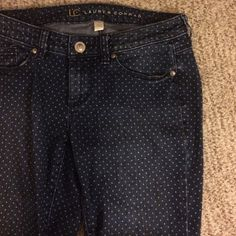 Polka dot skinny jeans Very cute medium wash skinny jeans with faded white mini polka dots. LC Lauren Conrad brand. There is a small hole on the knee, but it could be fixed, covered by boots, or distressed further for a ripped jean look! LC Lauren Conrad Jeans Skinny