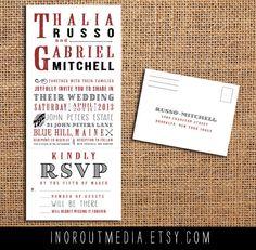 Rustic Wedding Invitation - typography, trifold, tear off RSVP, Antique, farm wedding, outdoor wedding, RSVP card